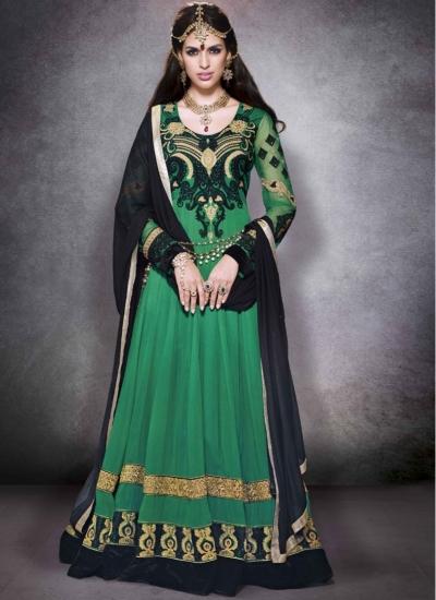 Green floor length designer suit