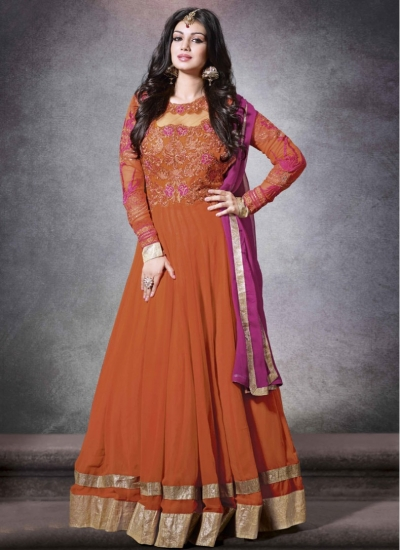 Orange floor length designer suit
