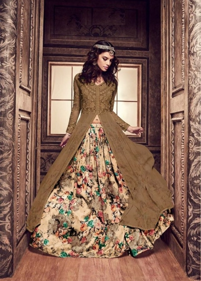 Brown and cream color pure silk floral lehenga style party wear kameez
