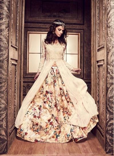 Cream color pure silk floral lehenga style party wear kameez