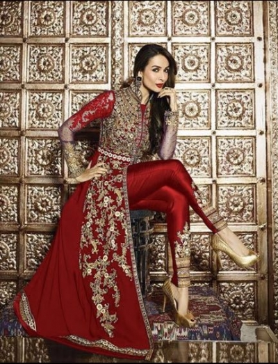 Malaika Arora Khan Resham Work Red Designer Suit