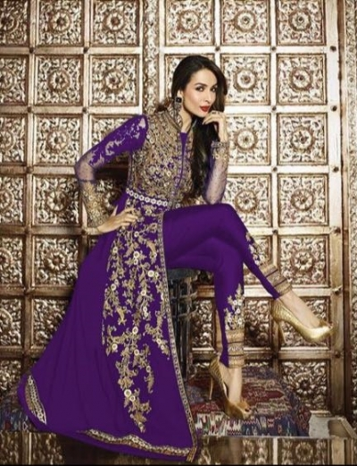 Malaika Arora Khan Resham Work Purple Designer Suit