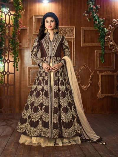Mouni Roy Brown Tapeta silk wedding wear lehenga style kameez