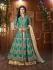 Mouni Roy Teal green Tapeta silk wedding wear lehenga style kameez