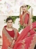 Peach and red  moss georgette wedding wear saree