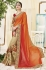 Cream and ornage color georgette and net wedding wear saree