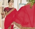 Pink and maroon georgette and jacquard georgette wedding wear saree