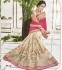 Cream and pink georgette and marble georgette wedding wear saree