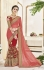 Pink and red color geogette wedding wear saree