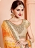 Orange and beige silk viscous wedding wear saree