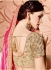 Pink and cream silk and net wedding wear saree