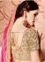 Pink and cream silk and net wedding wear saree