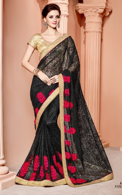 Black and gold color butterfly net wedding wear saree