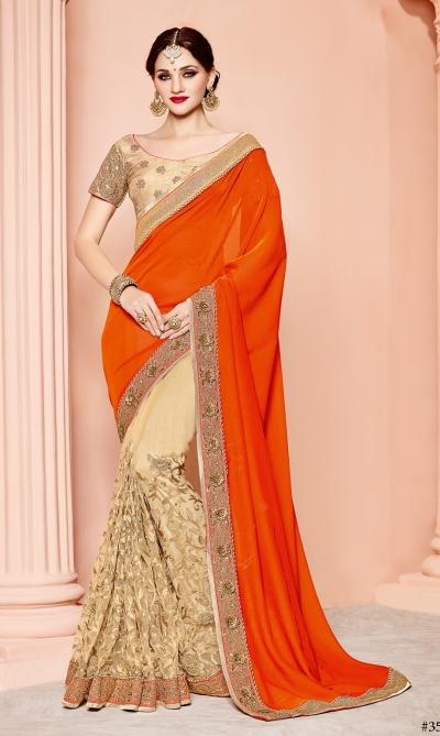 Orange and beige silk satin wedding wear saree