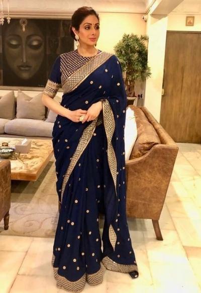 Bollywood style Sridevi Kapoor Navy blue georgette saree