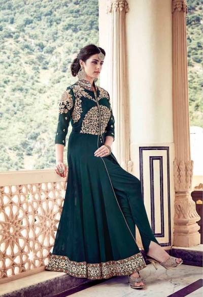 Bottom green faux georgette party wear anarkali suit