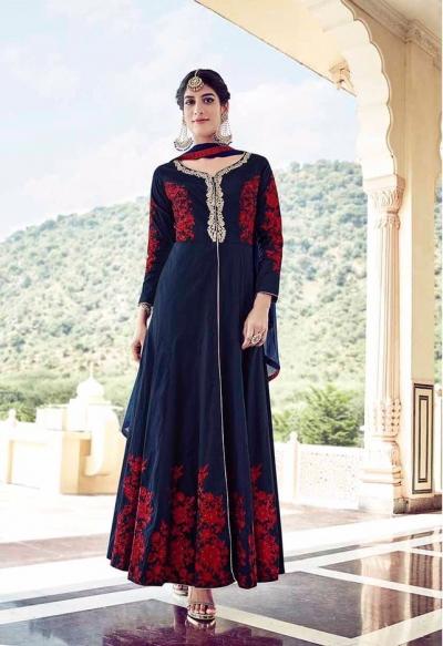 Navy blue tapeta silk party wear anarkali suit