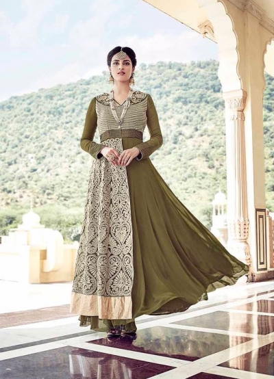 Mehandi green georgette party wear anarkali