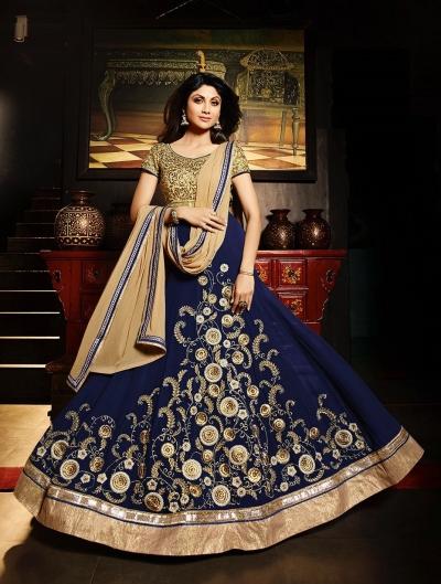 Shilpa shetty blue georgette party wear salwar kameez
