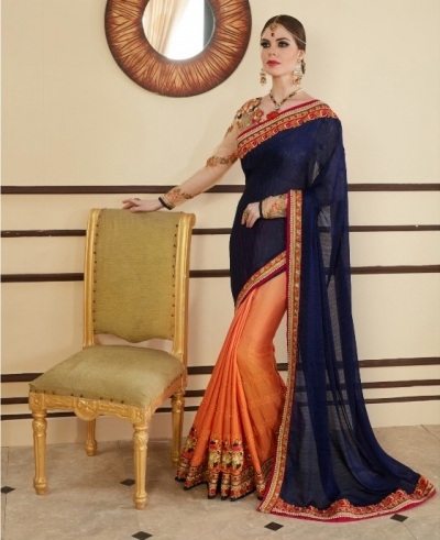 Navy blue and orange designer party wear saree
