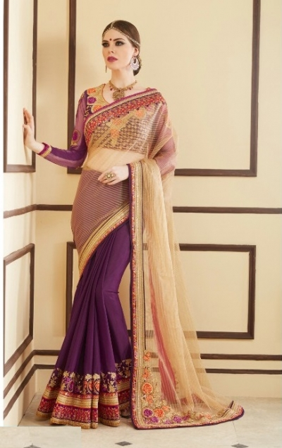 Cream and purple designer party wear saree
