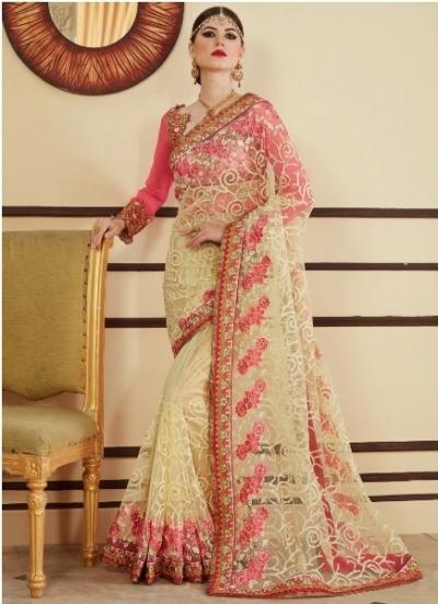 Cream and pink designer party wear saree