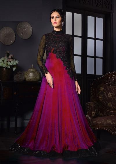 Magenta color silk two tone party wear salwar kameez
