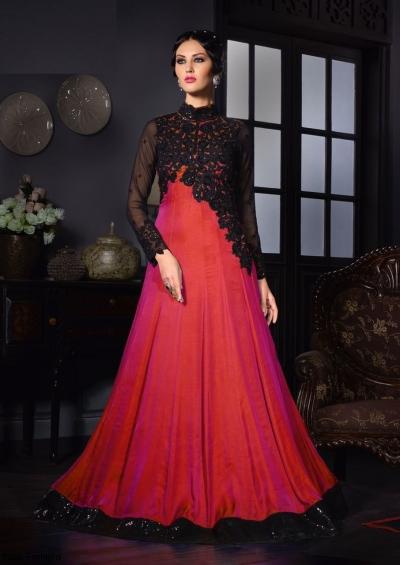 Pink color silk two tone party wear salwar kameez
