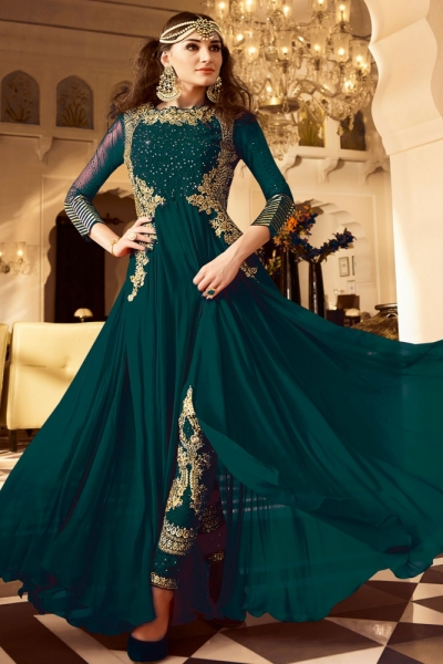 Green color Georgette party wear anarkali