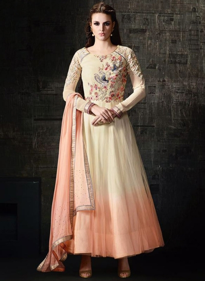 Cream and peach color shaded georgette and net party wear anarkali kameez
