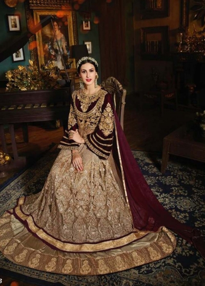 Beige and maroon  color net and velvet  wedding wear anarkali