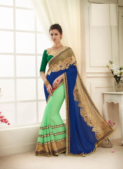 Party wear blue color saree