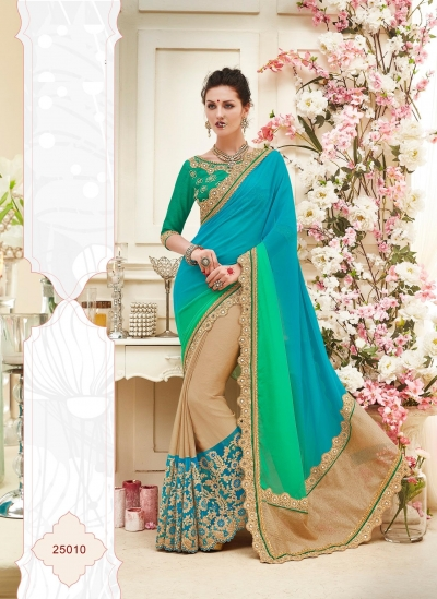 Party wear blue green color saree