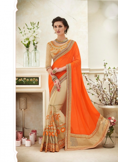Party wear orange color saree