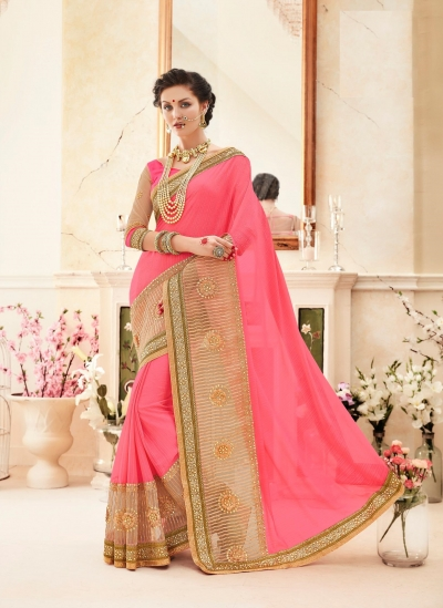 Party wear pink gold color saree