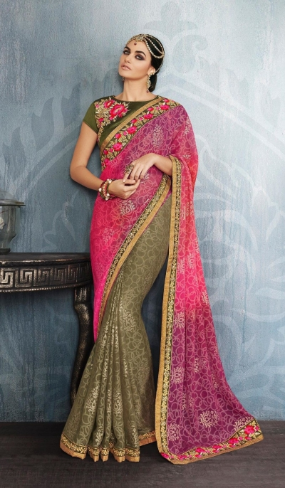 Party-wear-Pink-Pine-Green-color-saree