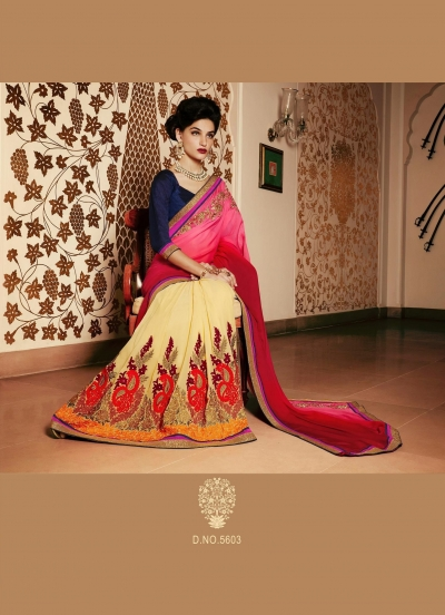 Party-wear-pink-beige-red-color-saree