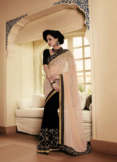 Party-wear-black-beige-color-saree