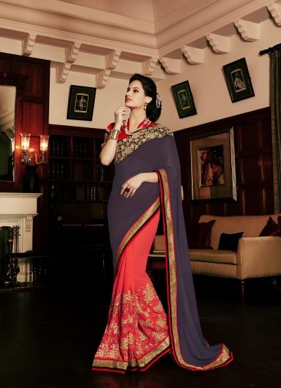 Party-wear-Orange-Charcoal-color-saree