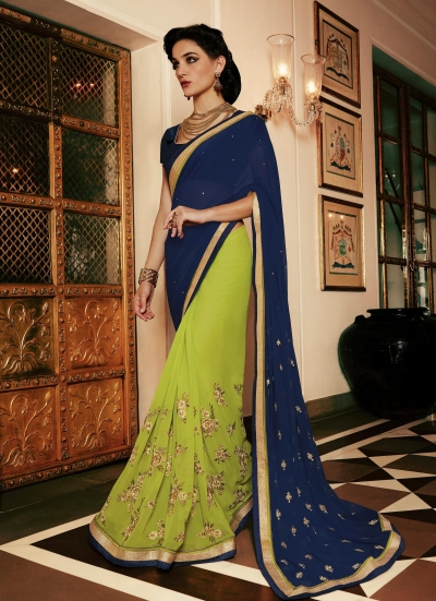 Party-wear-green-blue-color-saree