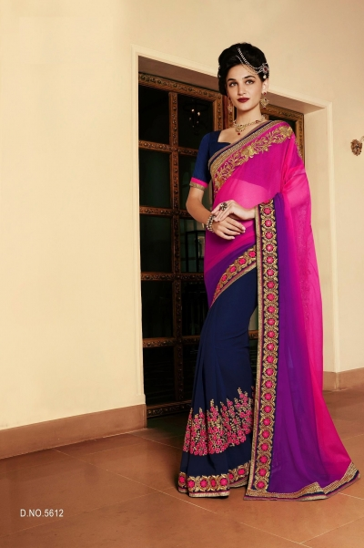 Party-wear-green-purple-blue-color-saree