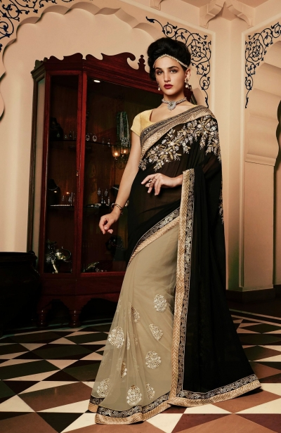Party-wear-black-chikoo-color-saree