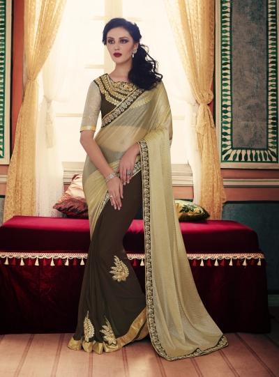 Party-wear-Black-Chikoo-color-saree