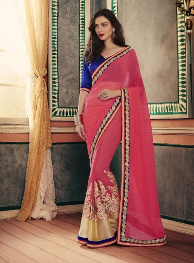 Party-wear-Tomato-Red-color-saree