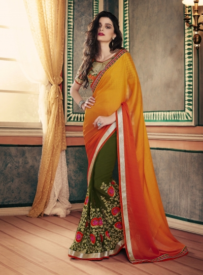 Party-wear-Pine-Green-Orange--color-saree