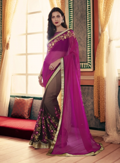 Party-wear-Magenta-Coffee-color-saree