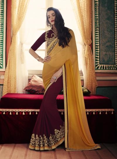 Party-wear-Wine-Mustard-color-saree