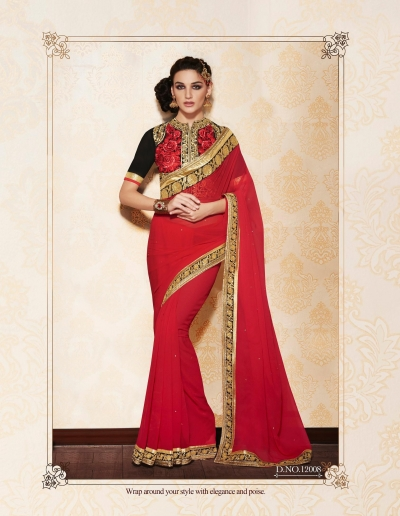 Party-wear-Red2-color-saree