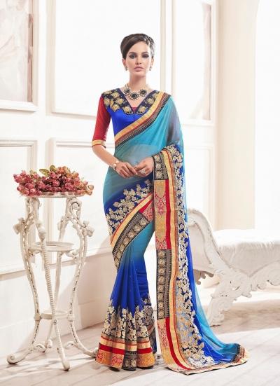 Party-wear-Ink-Blue-Sky-Blue-color-saree