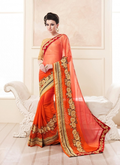 Party-wear-Orange-color-saree